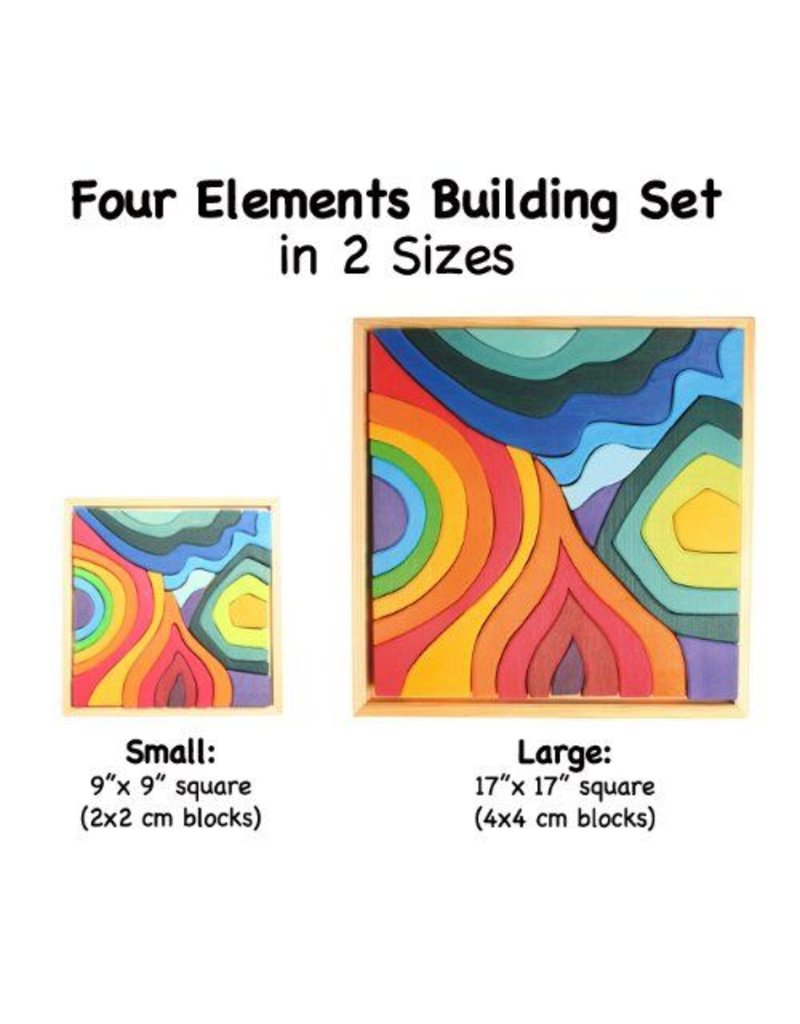 Grimms Four Elements Building Block Set/Puzzle in Wooden Tray by Grimms