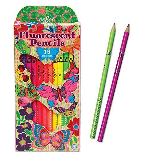 Eeboo Fluorescent Pencil Crayons 12-Pack (Butterflies) by Eeboo