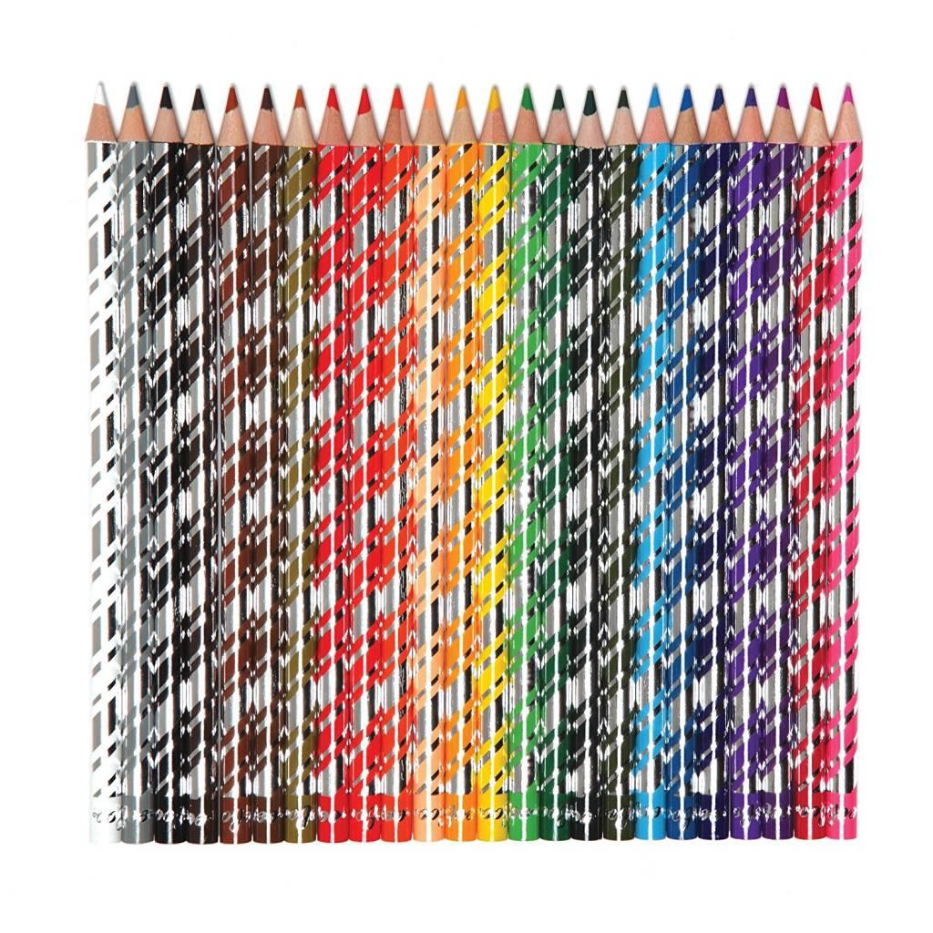 Eeboo Silver Robot 24-Pack Colour Pencil Crayons Tin