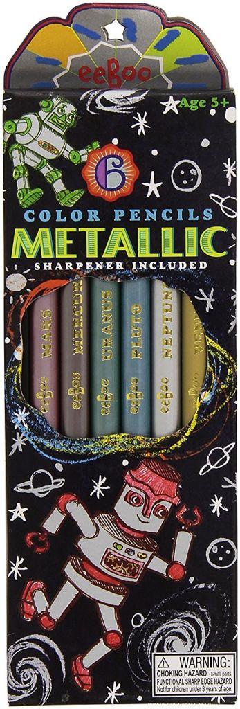 Eeboo Metallic Pencil Crayons (Silver Robot) by Eeboo