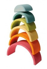 Grimms Pastel Wooden Stacking Tunnel (Medium, 6 Piece) by Grimms