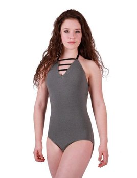 BP Designs BP Designs Eclon Gray Three Strap Halter Leotard Adult 73117