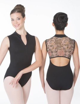 Suffolk Pointe SUFFOLK ZIP FRONT FLORAL BACK LEOTARD 2095