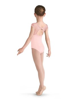 Mirella M654C MIRELLA BOW FLOCK F&B YOKE CAP SLEEVE LEOTARD