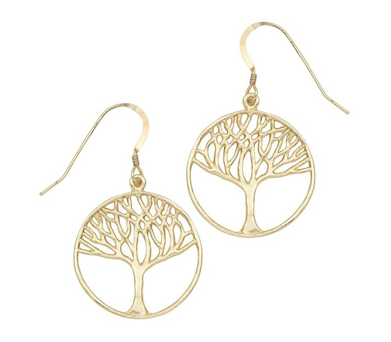 Tree of Life Circle Earrings