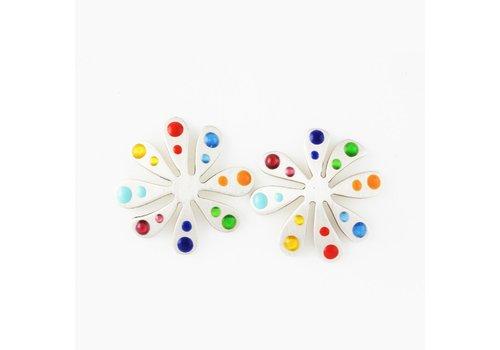 Tiny Flower Dewdrop Post Earrings