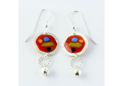 Red Tiny Circle Drop Earrings
