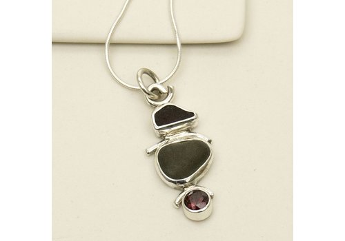 Seaglass, Beachstone, and Garnet Necklace