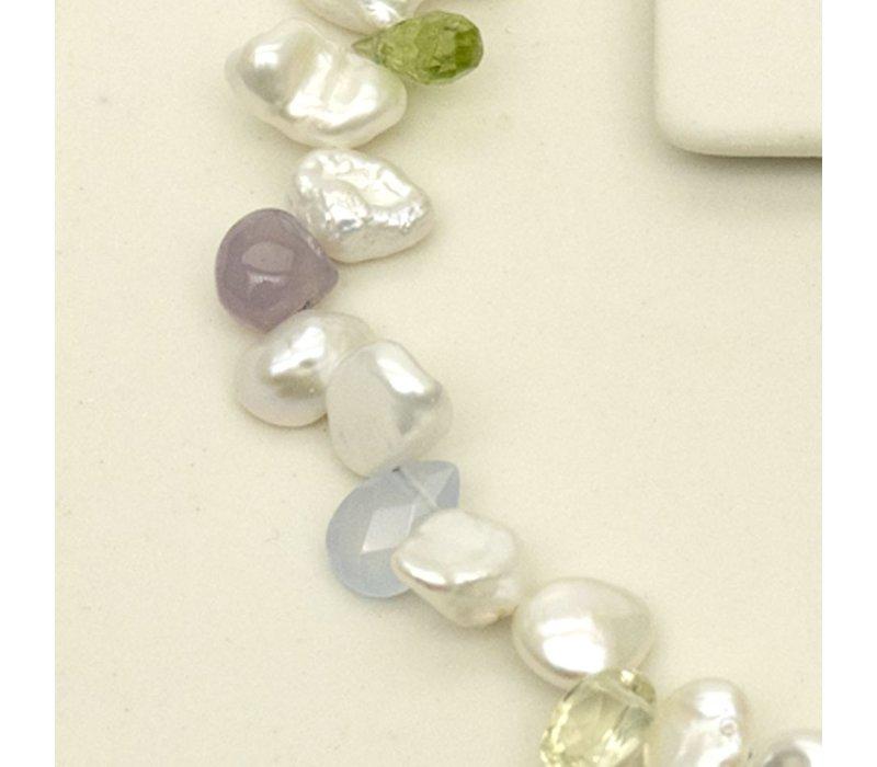 Keshi Pearl with mixed pastel gemstones