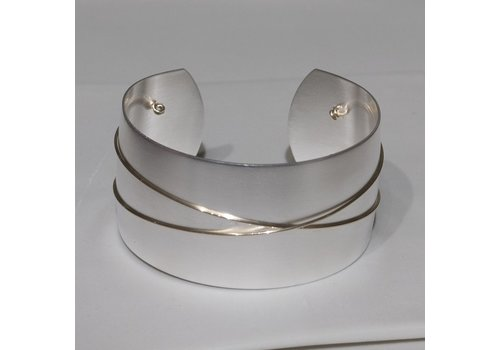 Silver Plate Cuff with Gold Fill Wire