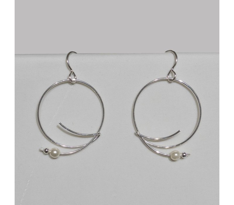 Silver Wire Hoop Earrings with Glass Pearl