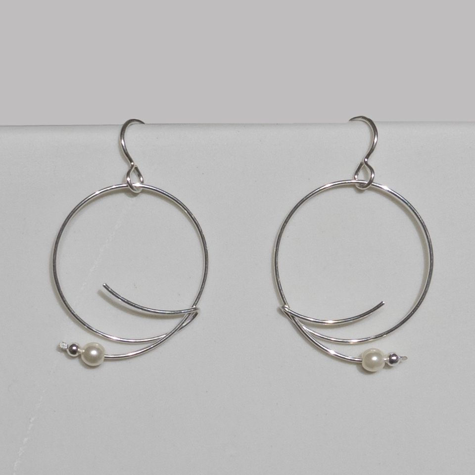 Silver Wire Earrings with Glass Pearl - Edgecomb Potters