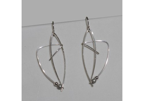 Silver Wire Earrings with Bead
