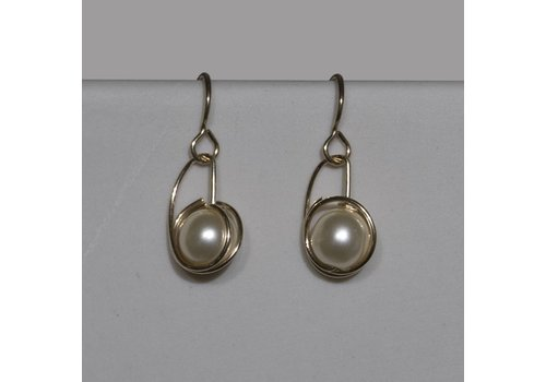 Gold Fill Wrapped Earring with Glass Pearl