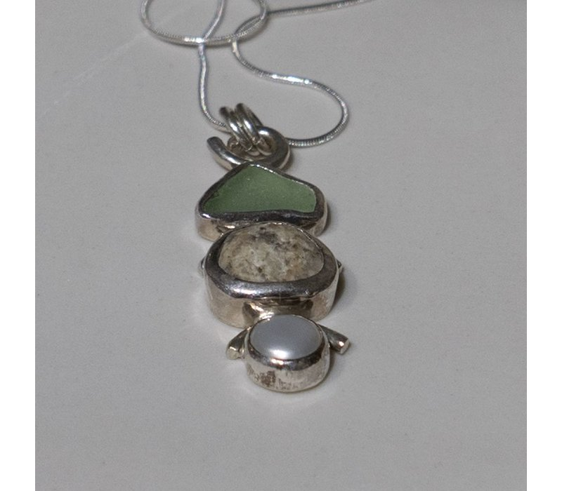 Seaglass, Stone and Pearl Necklace