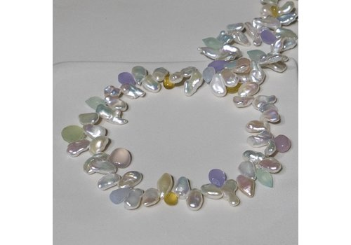 Keshi Pearl with assorted Chalcedony