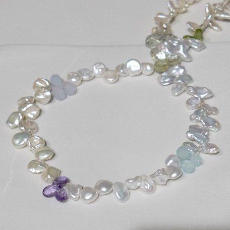 Keshi Pearls with mixed gemstones