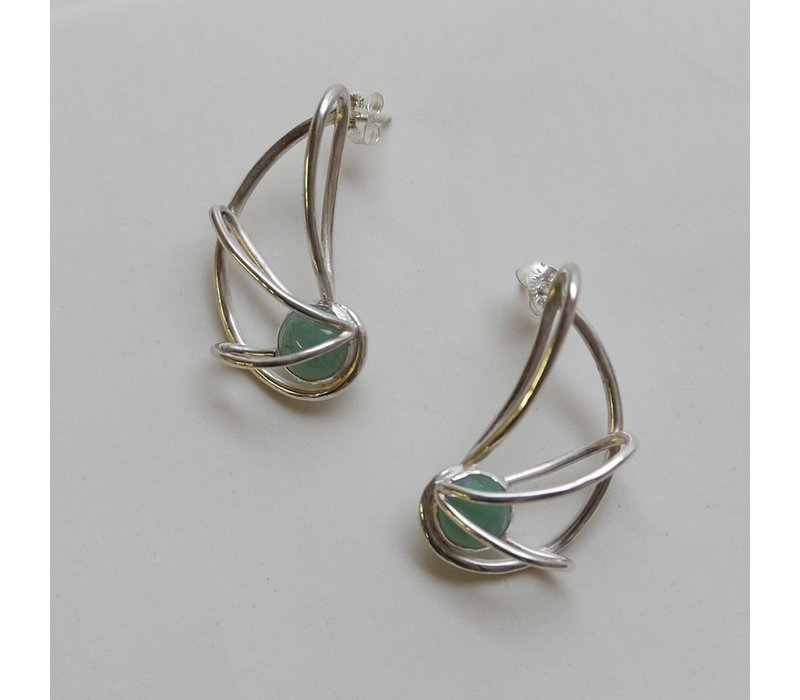 Nautilus Earrings with Adventurine