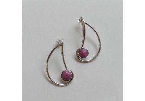 Nautilus Earrings with Rhodonite