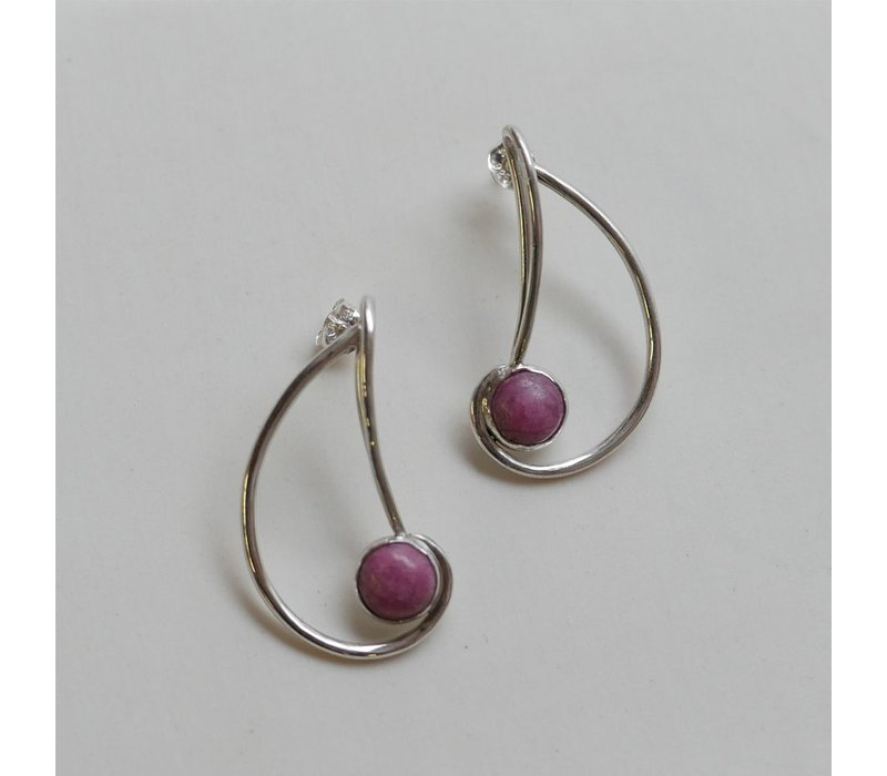 Nautilus Earrings with Rhodonite