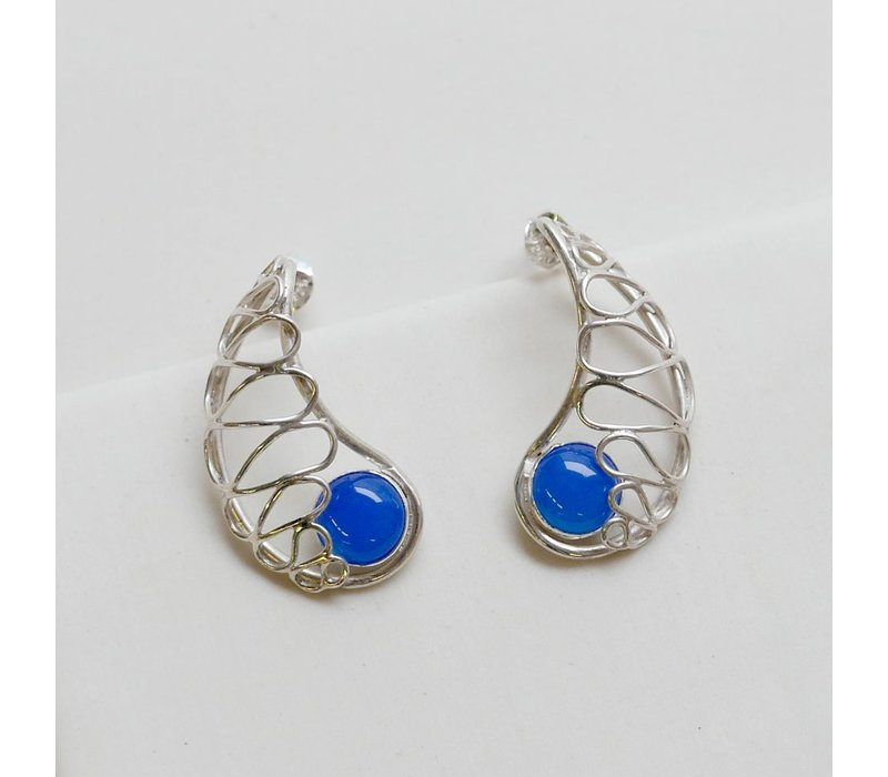 Lace Nautilus Earrings with Blue Onyx