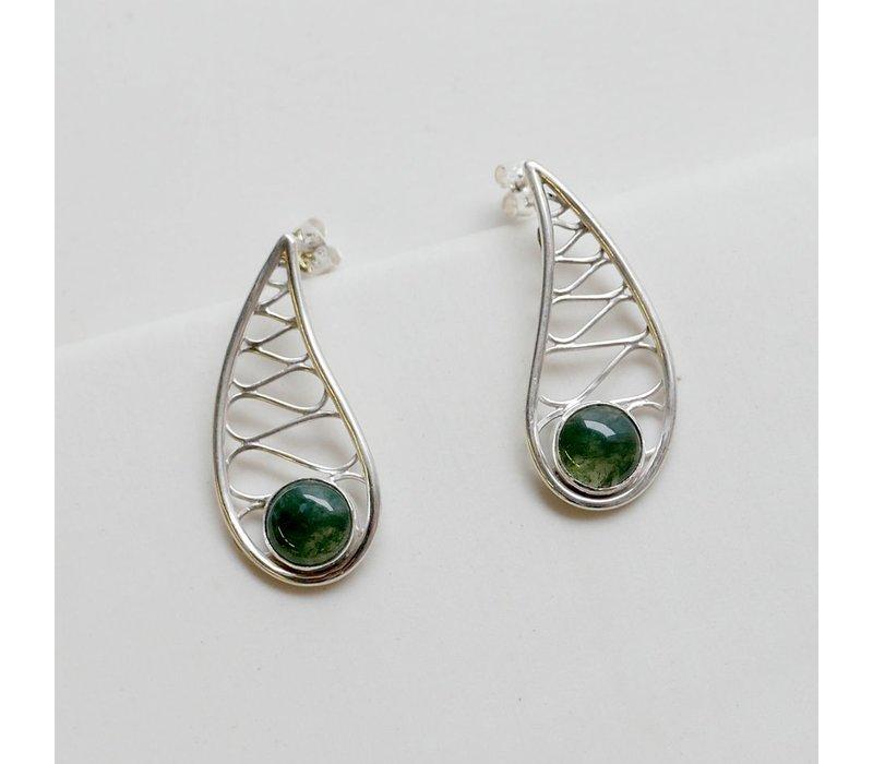 Teardrop Earrings with Moss Agate