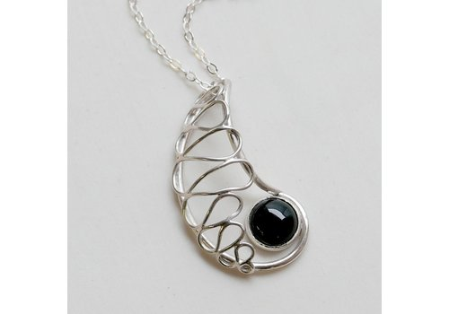 Lace Nautilus Pendant with Black Onyx