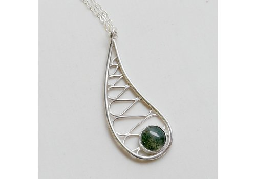 Teardrop Pendant with Moss Agate