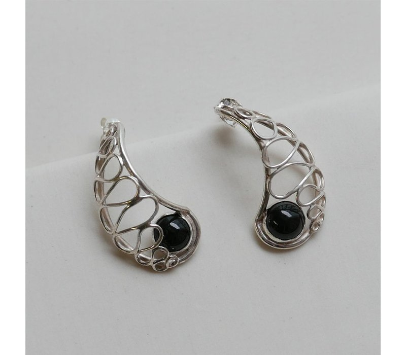 Lace Nautilus Earrings with Black Onyx
