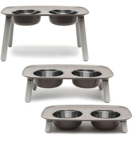 Messy Mutts Elevated Double Feeder - Gray