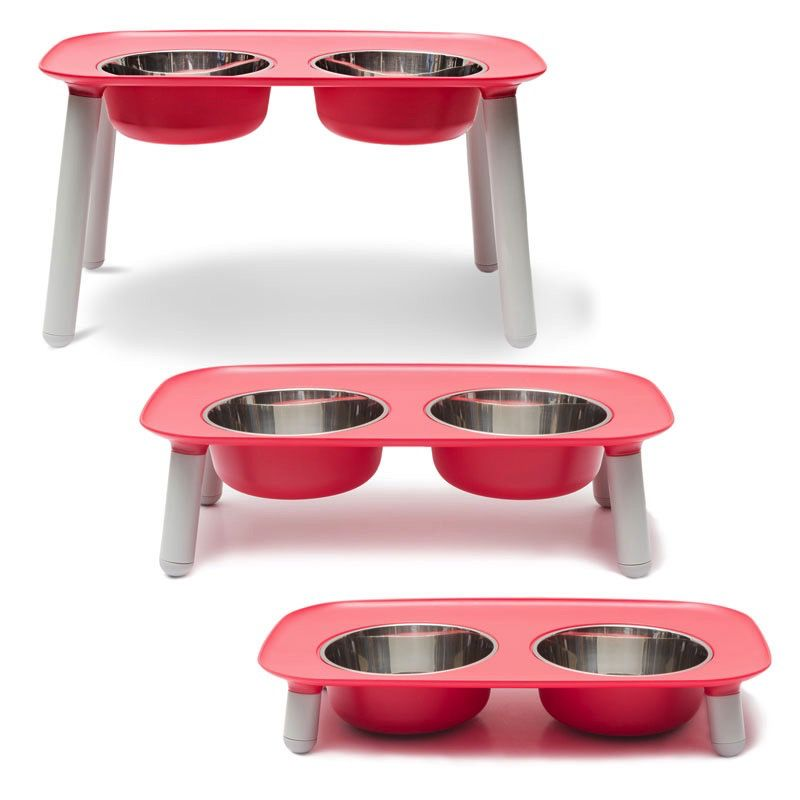 Messy Mutts Elevated Double Feeder - Red