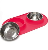 Messy Mutts Silicone Double Feeder - Red, Large