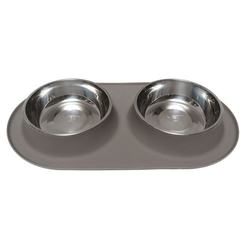Messy Mutts Silicone Double Feeder - Gray, Large