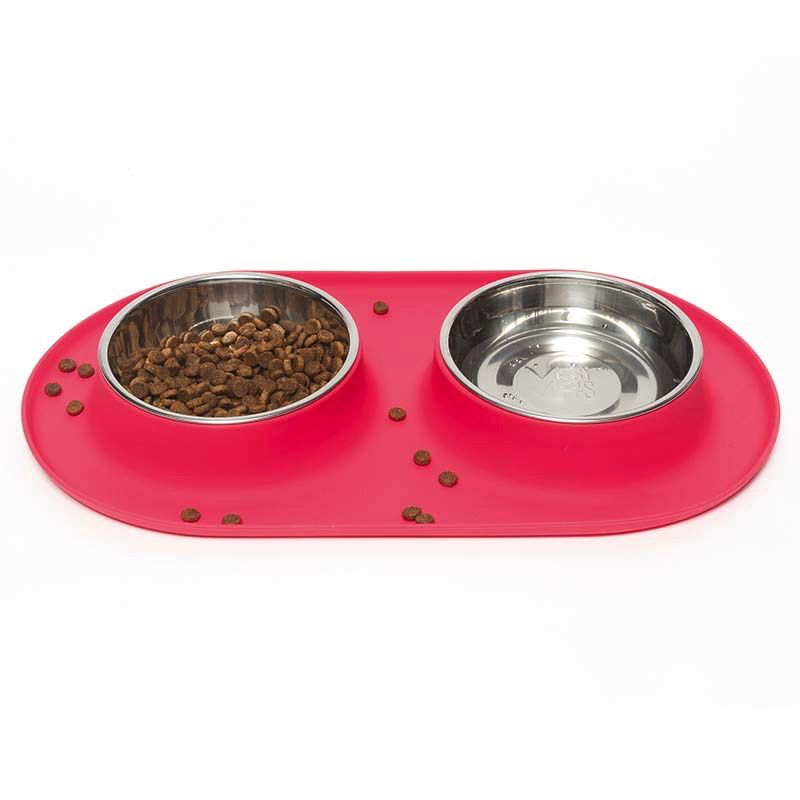 Messy Mutts Silicone Double Feeder - Red, Medium