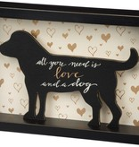 Primitives Love And A Dog Box Sign - Gold
