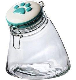 Amici Amici Sloped Treat Jar Teal Paw