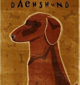 John W. Golden Art Red Dachshund Wooden Block