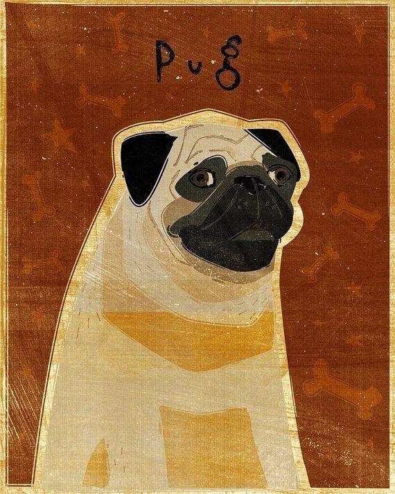 John W. Golden Art Fawn Pug Wooden Block