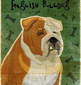 John W. Golden Art English Bulldog Wooden Block