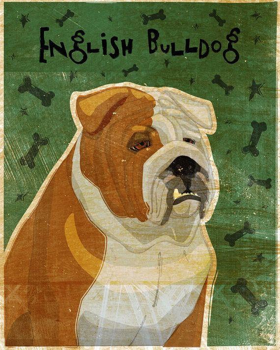 John W. Golden Art English Bulldog Wooden Block