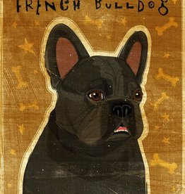 John W. Golden Art Black French Bulldog Wooden Block