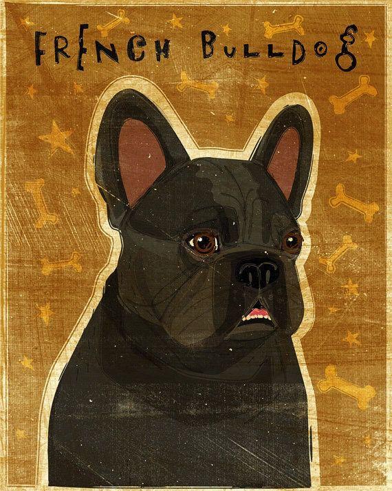 John W. Golden Art Black French Bulldog Wooden Block