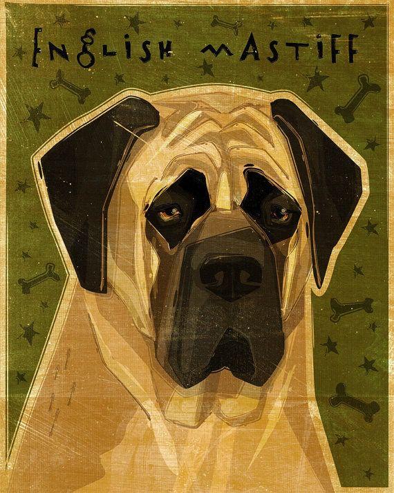 John W. Golden Art English Mastiff Wooden Block