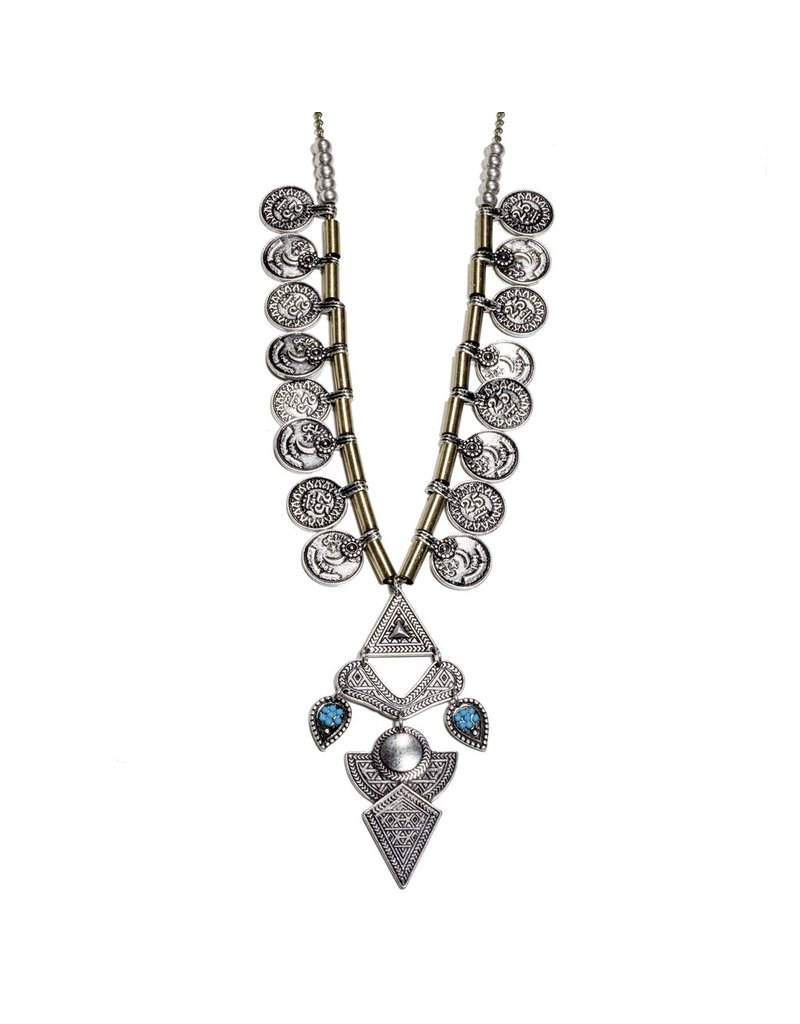 Tribal Coin Statement Necklace