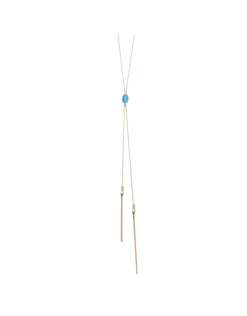 Turquoise Double Bar Drop Necklace