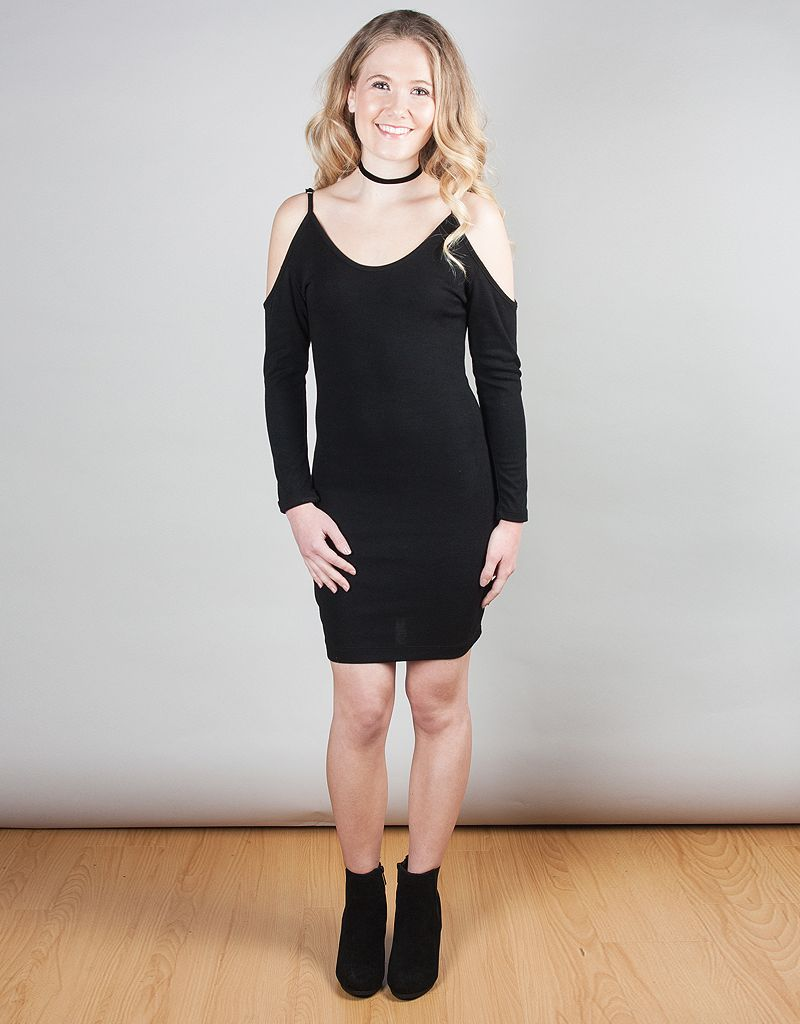 Solid Open Sholder Dress