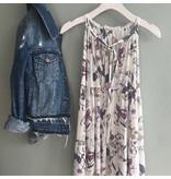 Floral Outline Tiered Dress