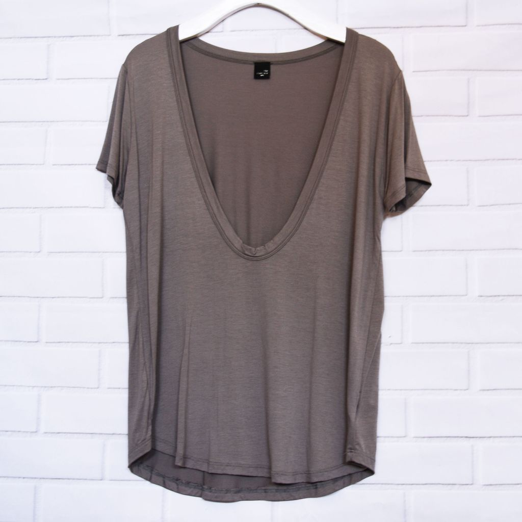 Deep Round Scoop Neck Tee