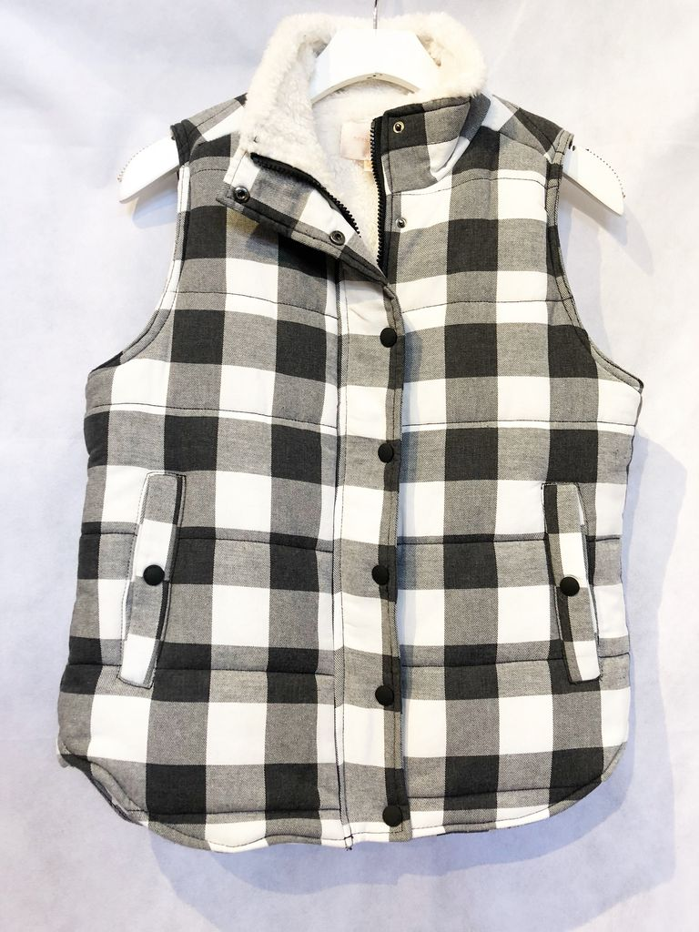 Skies are Blue Puffer Plaid Vest