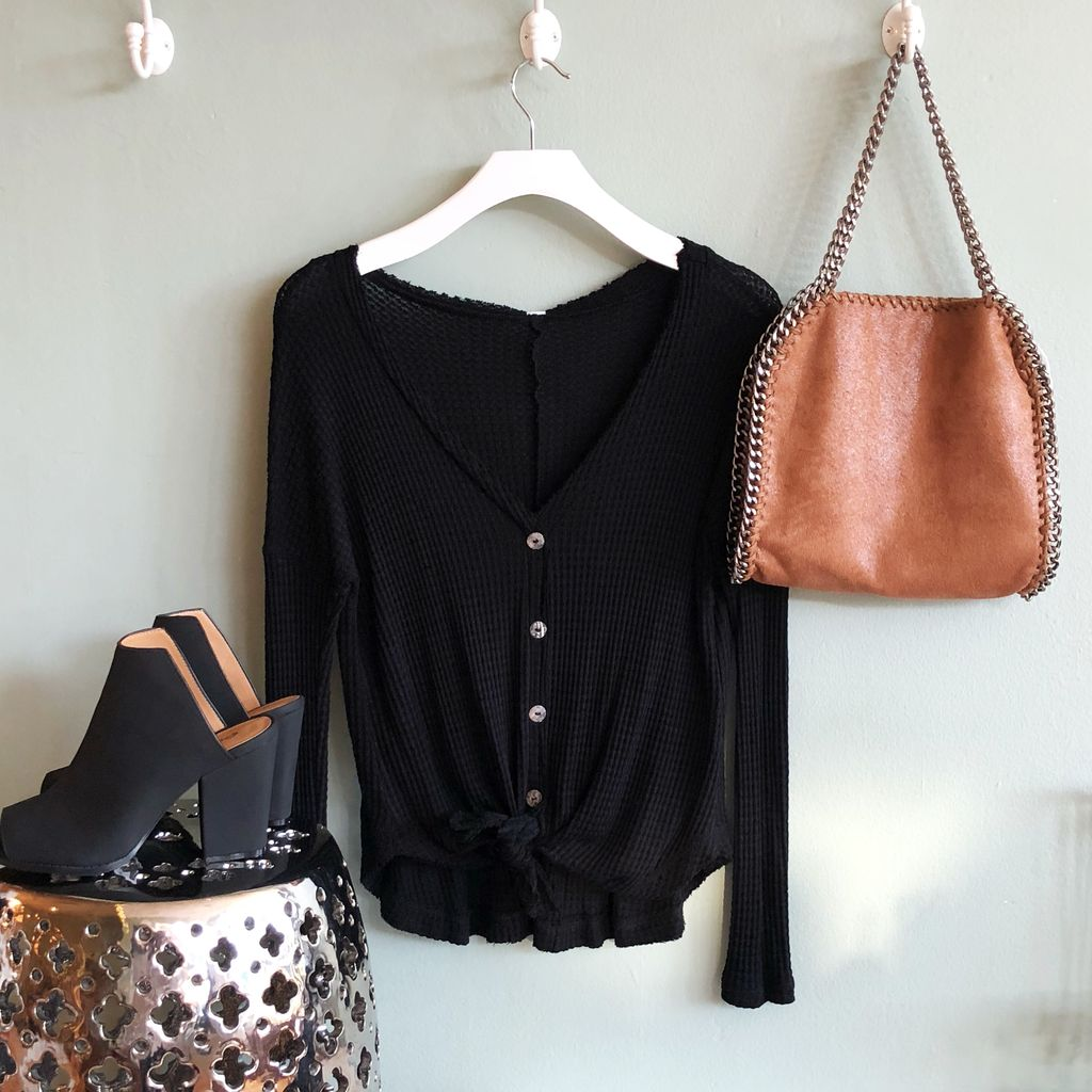 Waffle Button-Up Top